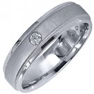 MENS .08CT SOLITAIRE BRILLIANT ROUND CUT DIAMOND RING WEDDING BAND WHITE GOLD