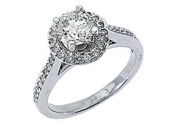 1.83 CARAT WOMENS DIAMOND ENGAGEMENT HALO WEDDING RING ROUND CUT 14K WHITE GOLD