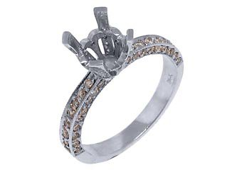 .68 CARAT WOMENS DIAMOND ENGAGEMENT RING SEMI-MOUNT MICRO PAVE WHITE GOLD