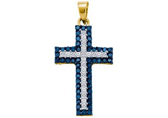 1.15 Carat Blue Diamond Cross Pendant Brilliant Round Cut Yellow Gold