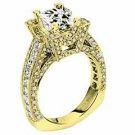 WOMENS DIAMOND ENGAGEMENT RING PRINCESS CUT 3.26 CARAT 14K YELLOW GOLD