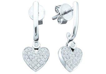 1/4 CARAT HEART SHAPED DIAMOND DANGLE EARRINGS 10KT WHITE GOLD