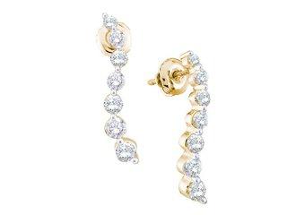 1 CARAT BRILLIANT ROUND DIAMOND DANGLE EARRINGS 14KT YELLOW GOLD