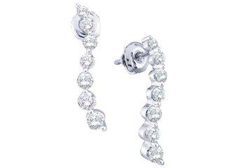 1 CARAT BRILLIANT ROUND DIAMOND DANGLE EARRINGS 14KT WHITE GOLD