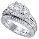 WOMENS DIAMOND ENGAGEMENT RING WEDDING BAND BRIDAL SET PRINCESS CUT 1.74 CARATS
