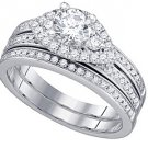 WOMENS DIAMOND ENGAGEMENT RING WEDDING BAND BRIDAL SET ROUND CUT 1.08 CARAT