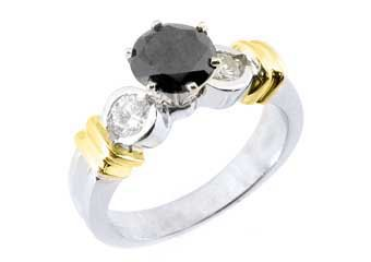 WOMENS 1.5 CARAT ROUND CUT BLACK DIAMOND ENGAGEMENT RING TWO TONE WHITE GOLD