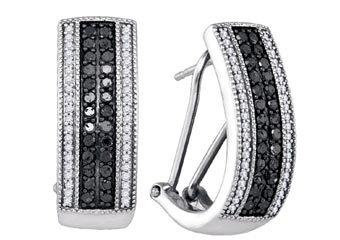 WOMENS .88 CARAT BLACK DIAMOND HOOP EARRINGS ROUND CUT PAVE 14KT WHITE GOLD