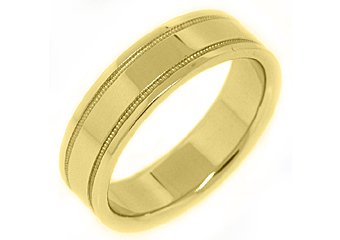 MENS WEDDING BAND ENGAGEMENT RING 14KT YELLOW GOLD HIGH GLOSS FINISH 6mm