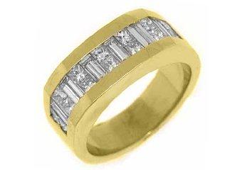 MENS 2.78 CARAT PRINCESS BAGUETTE CUT DIAMOND RING WEDDING BAND 18KT YELLOW GOLD