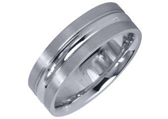 MENS WEDDING BAND ENGAGEMENT RING WHITE GOLD HIGH GLOSS & SATIN FINISH 6mm