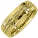 MENS WEDDING BAND ENGAGEMENT RING YELLOW GOLD HIGH GLOSS MILGRAIN 6mm