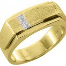 MENS 1/4 CARAT PRINCESS SQUARE CUT DIAMOND RING WEDDING BAND 14KT YELLOW GOLD