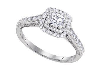 1 CARAT WOMENS DIAMOND HALO ENGAGEMENT RING PRINCESS CUT SHAPE WHITE GOLD