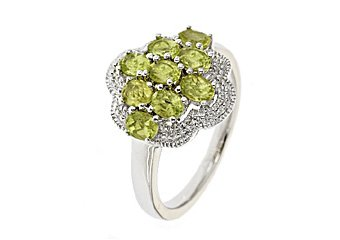WOMENS 1.8 CARAT PERIDOT COCKTAL RIGHT HAND CLUSTER RING 925 STERLING SILVER