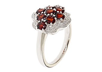 WOMENS 1.8 CARAT RED GARNET COCKTAL RIGHT HAND CLUSTER RING 925 STERLING SILVER
