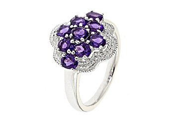WOMENS 1.53 CARAT AMETHYST COCKTAL RIGHT HAND CLUSTER RING 925 STERLING SILVER