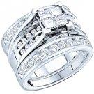 WOMENS DIAMOND ENGAGEMENT RING WEDDING BAND TRIO SET PRINCESS CUT INVISIBLE
