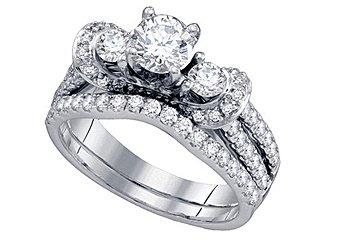WOMENS DIAMOND ENGAGEMENT RING WEDDING BAND BRIDAL SET ROUND CUT 1.51 CARAT