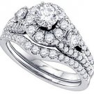WOMENS DIAMOND HALO ENGAGEMENT RING WEDDING BAND BRIDAL SET ROUND CUT 1.5 CARAT