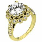 WOMENS DIAMOND ENGAGEMENT HALO RING ROUND CUT 1.82 CARAT 18K YELLOW GOLD