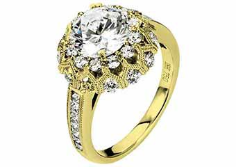 WOMENS DIAMOND ENGAGEMENT HALO RING ROUND CUT 2.19 CARAT 18K YELLOW GOLD