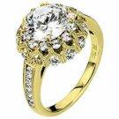 WOMENS DIAMOND ENGAGEMENT HALO RING ROUND CUT 2.19 CARAT 18K YELLOW GOLD