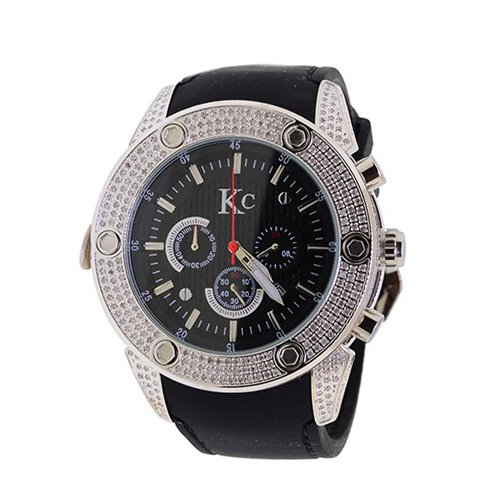 Mens Diamond Bezel Watch KC Chronograph 3 Carats