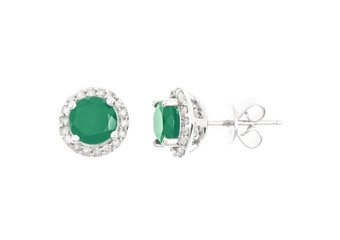 1.77CT EMERALD & DIAMOND HALO STUD EARRINGS 7mm ROUND MAY BIRTH STONE