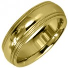MENS WEDDING BAND ENGAGEMENT RING YELLOW GOLD GLOSS FINISH MILGRAIN 6mm