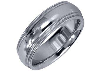 MENS WEDDING BAND ENGAGEMENT RING WHITE GOLD GLOSS FINISH MILGRAIN 6mm