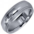 MENS WEDDING BAND ENGAGEMENT RING WHITE GOLD GLOSS FINISH MILGRAIN 6mm