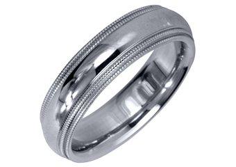 MENS WEDDING BAND ENGAGEMENT RING WHITE GOLD GLOSS FINISH MILGRAIN 5mm