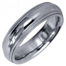 MENS WEDDING BAND ENGAGEMENT RING WHITE GOLD GLOSS FINISH MILGRAIN 5mm