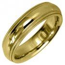MENS WEDDING BAND ENGAGEMENT RING YELLOW GOLD GLOSS FINISH MILGRAIN 5mm
