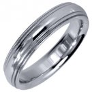 MENS WEDDING BAND ENGAGEMENT RING WHITE GOLD GLOSS FINISH MILGRAIN 4mm