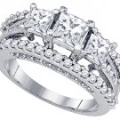 2.23 CARAT WOMENS DIAMOND ENGAGEMENT RING PRINCESS CUT 3-STONE SQUARE WHITE GOLD