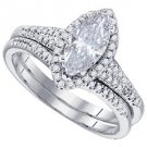 WOMENS MARQUISE CUT DIAMOND ENGAGEMENT HALO RING WEDDING BAND BRIDAL SET 2.5 CTS