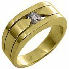 MENS .40 CARAT SOLITAIRE ROUND DIAMOND RING WEDDING BAND TENSION SET YELLOW GOLD