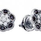 .29 CARAT BRILLIANT ROUND CUT BLACK DIAMOND STUD EARRINGS WHITE GOLD