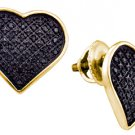 .24 CARAT HEART SHAPE MICRO PAVE ROUND BLACK DIAMOND STUD EARRINGS 925 SILVER