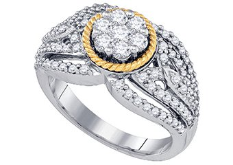 WOMENS BRILLIANT ROUND CUT DIAMOND ENGAGEMENT RING TWO TONE GOLD .94 CARATS