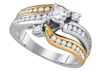 WOMENS BRILLIANT ROUND CUT DIAMOND ENGAGEMENT RING TWO TONE GOLD 1.01 CARATS