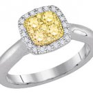 YELLOW DIAMOND ENGAGEMENT HALO RING CUSHION SHAPE 14KT WHITE GOLD .48 CARATS