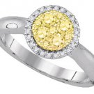 YELLOW DIAMOND ENGAGEMENT HALO RING ROUND SHAPE 14KT WHITE GOLD .46 CARATS