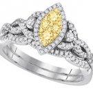 YELLOW DIAMOND ENGAGEMENT HALO RING WEDDING BAND BRIDAL SET MARQUISE SHAPE