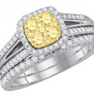 YELLOW DIAMOND ENGAGEMENT HALO RING WEDDING BAND BRIDAL SET CUSHION SHAPE 1 CT