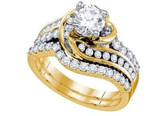 WOMENS DIAMOND ENGAGEMENT RING WEDDING BAND BRIDAL SET 1.75 CARAT ROUND CUT