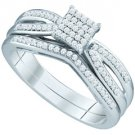 WOMENS DIAMOND PROMISE RING WEDDING BAND BRIDAL SET PRINCESS .25CT MICRO PAVE