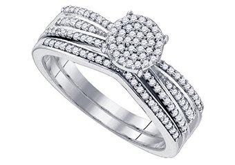WOMENS DIAMOND PROMISE RING WEDDING BAND BRIDAL SET ROUND CUT .33CT MICRO PAVE